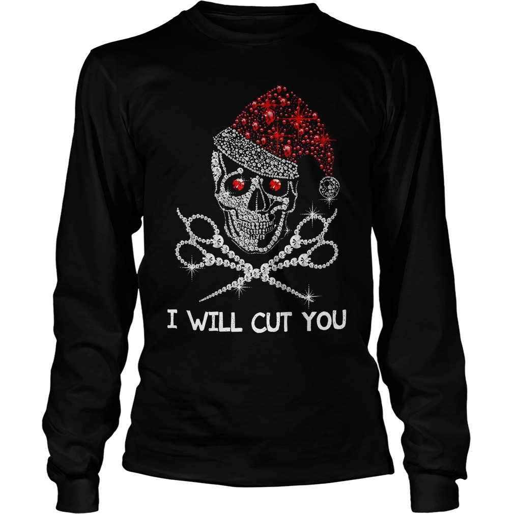 Buy it now Christmas Skeleton Rhinestone Santa hat I will cut you Longsleeve Tee