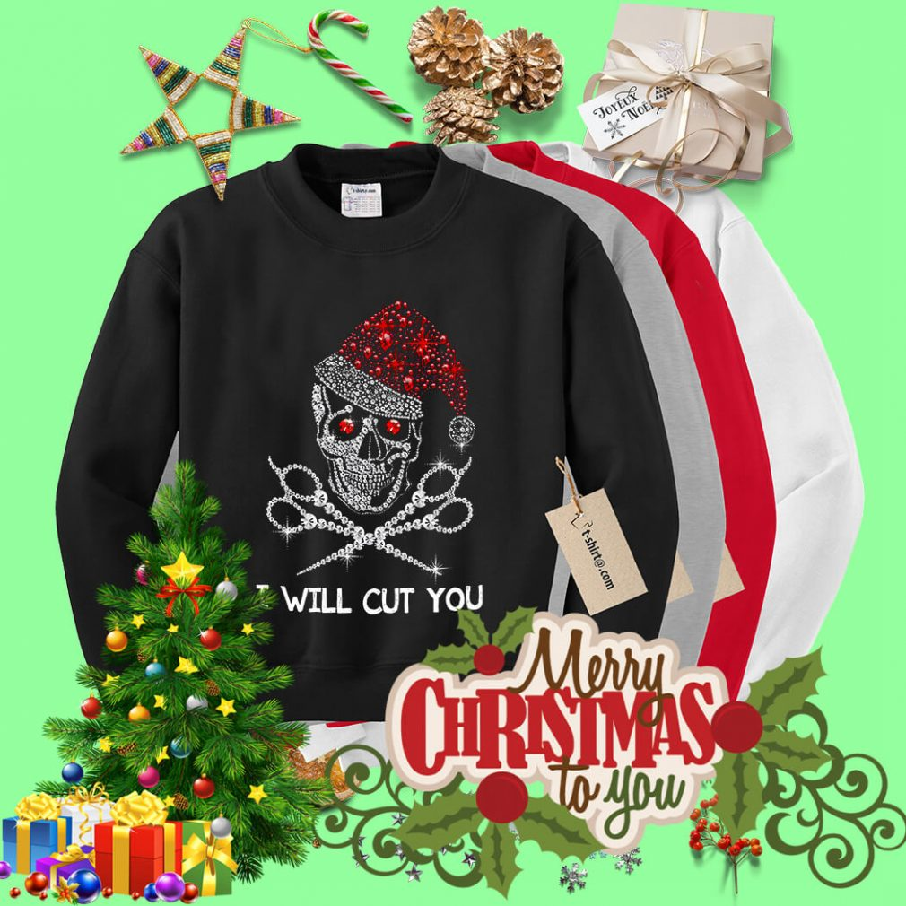 Christmas Skeleton Rhinestone Santa hat I will cut you shirt, sweater