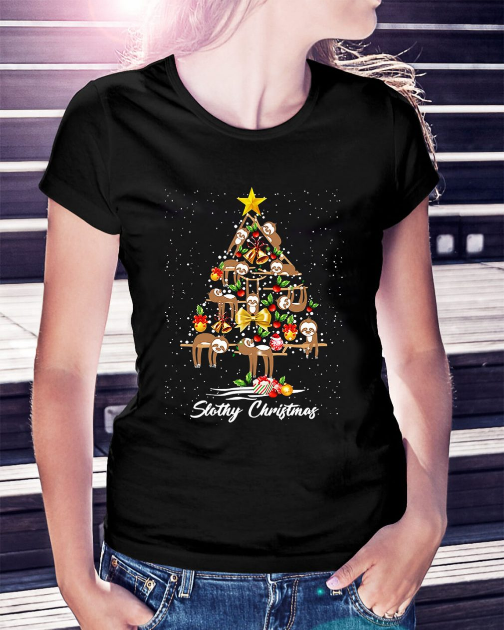 Christmas Slothy Christmas tree Ladies Tee
