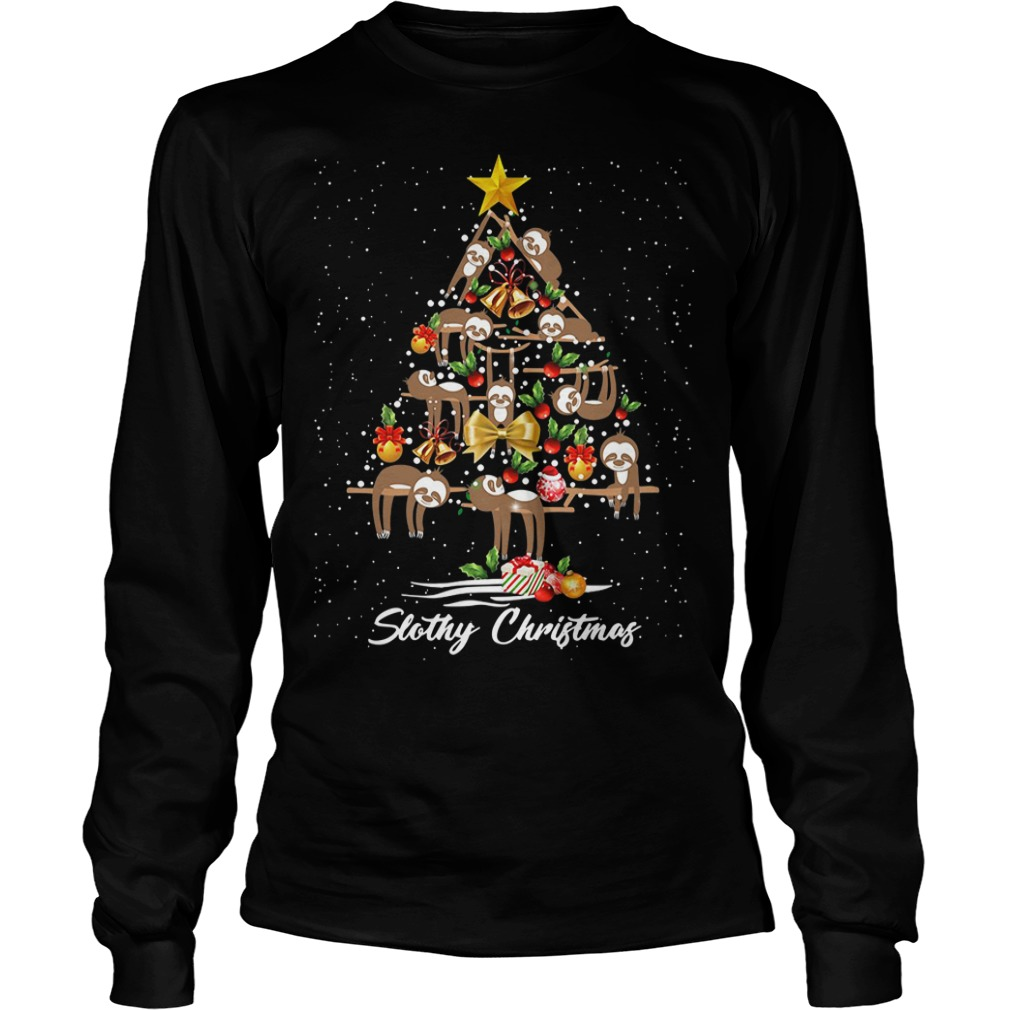 Christmas Slothy Christmas tree Longsleeve Tee