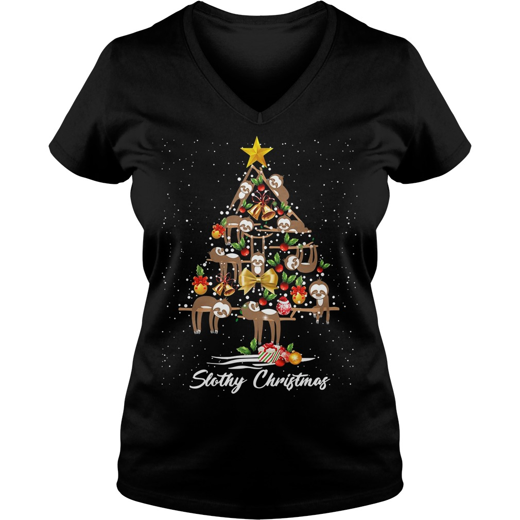 Christmas Slothy Christmas tree V-neck T-shirt