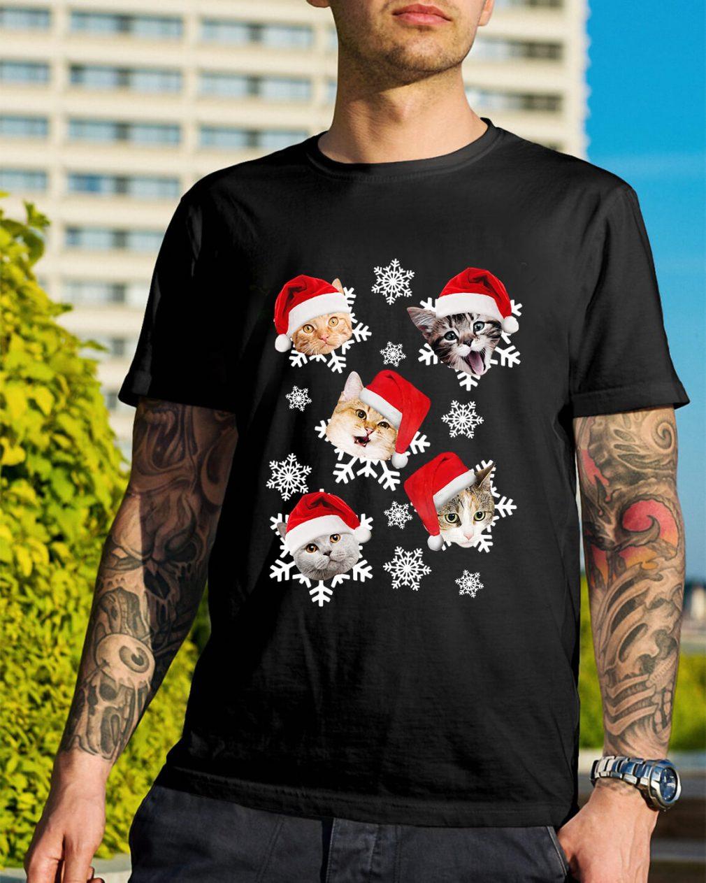 Christmas Snow cat emotion Santa hat Guys Shirt