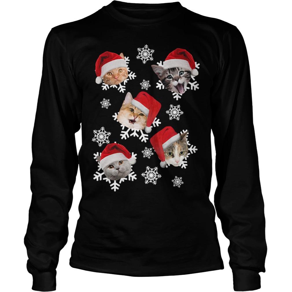 Christmas Snow cat emotion Santa hat Longsleeve Tee