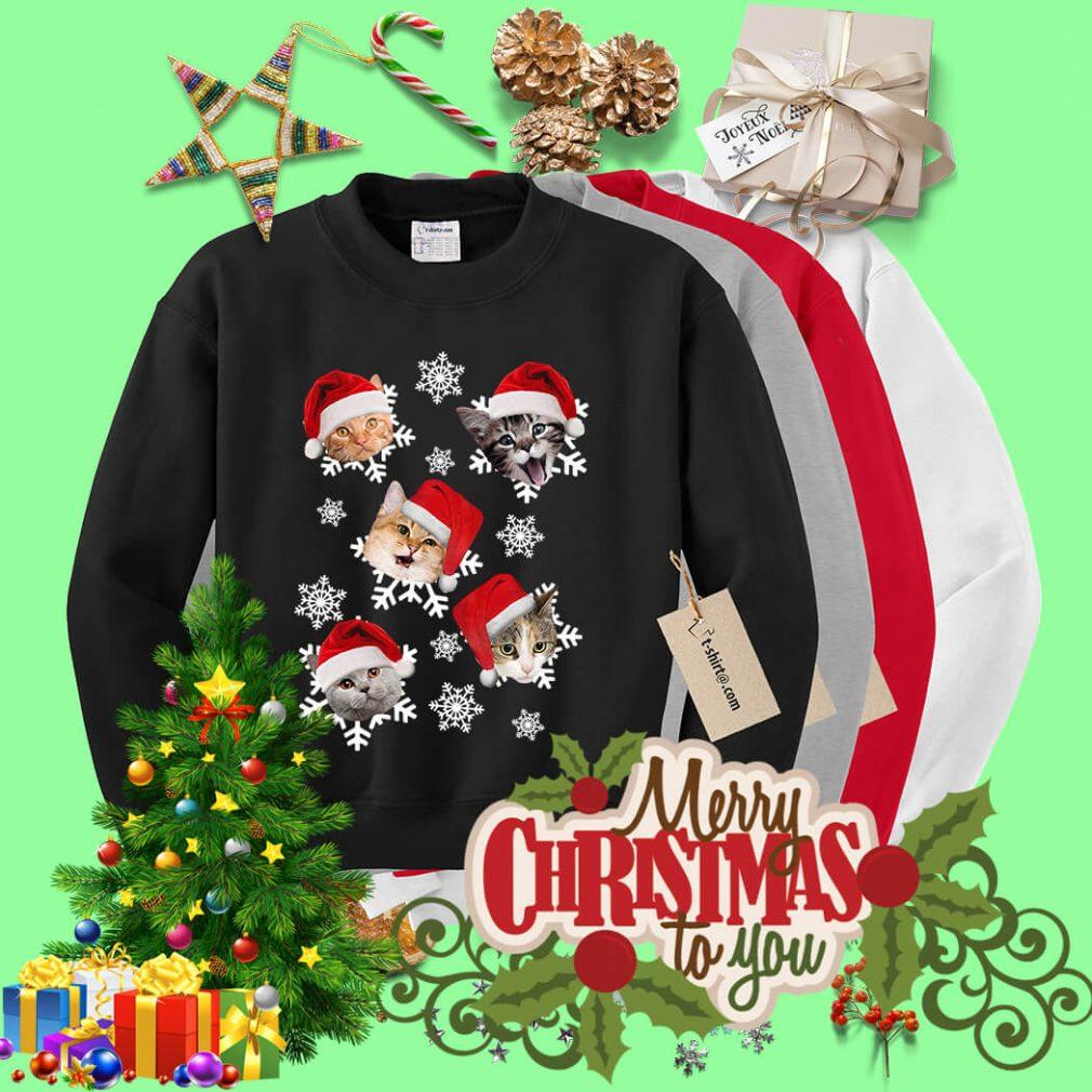 Christmas Snow cat emotion Santa hat shirt, sweater
