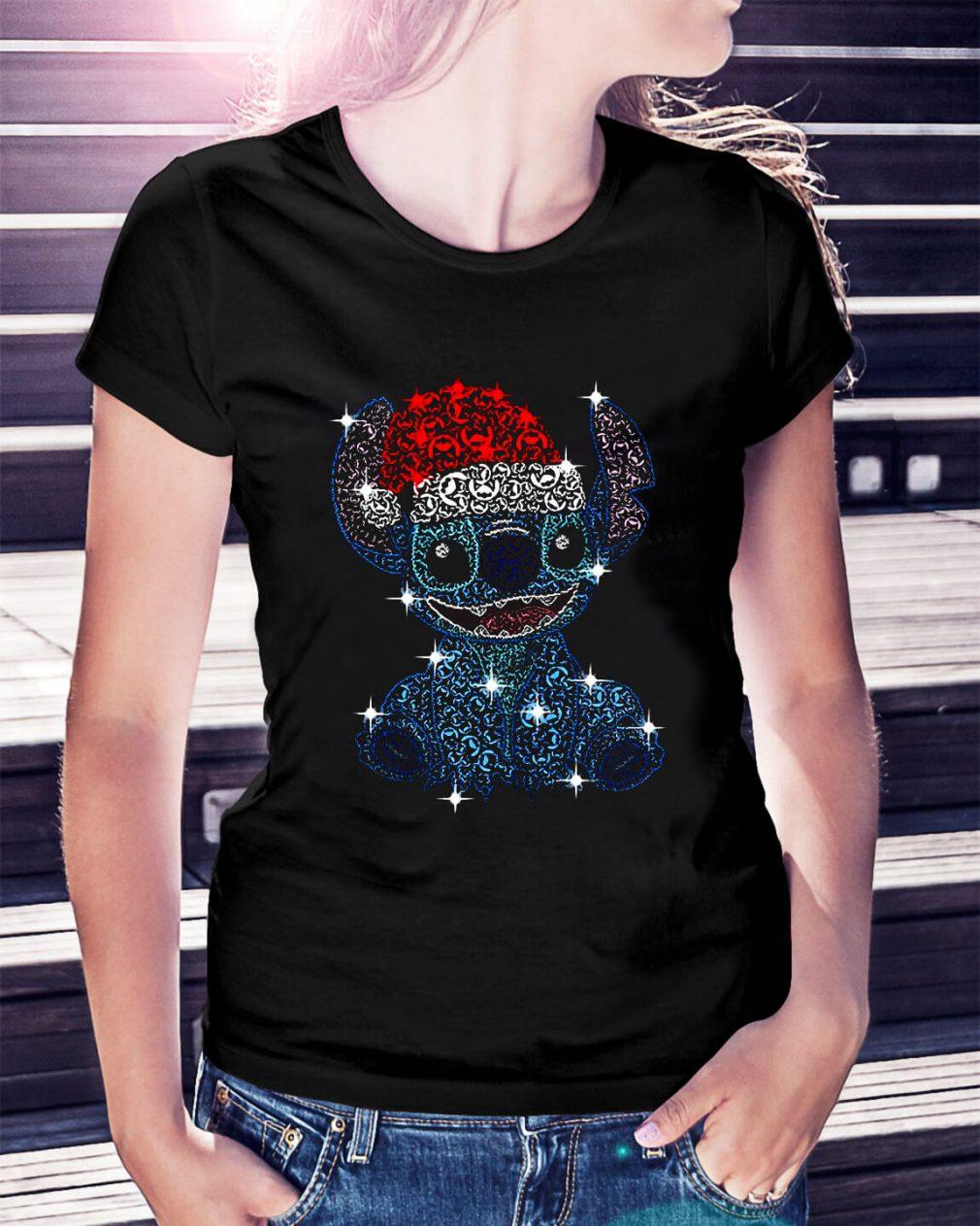 Christmas Stitch Jack Skellington rhinestone Santa hat Ladies Tee