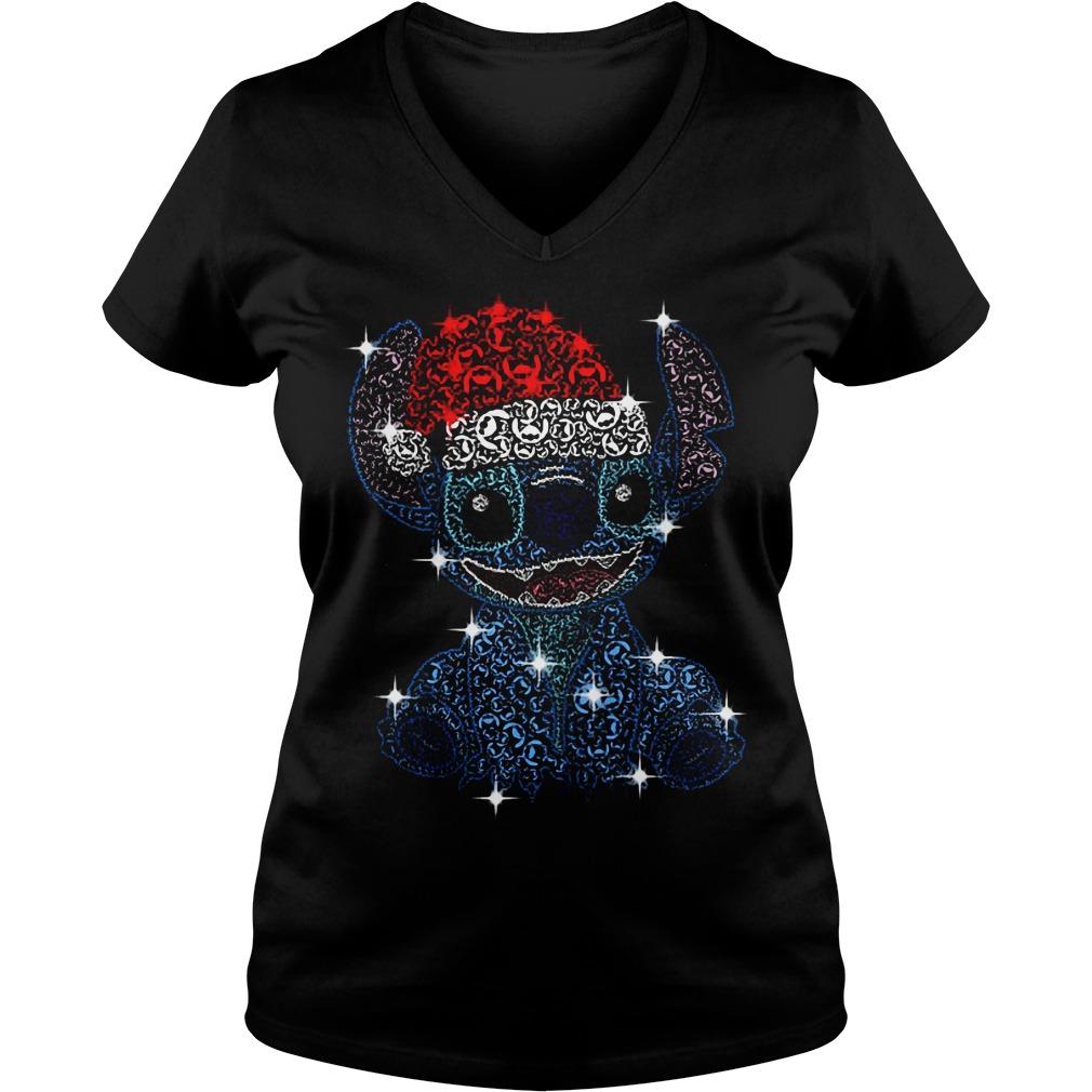 Christmas Stitch Jack Skellington rhinestone Santa hat V-neck T-shirt