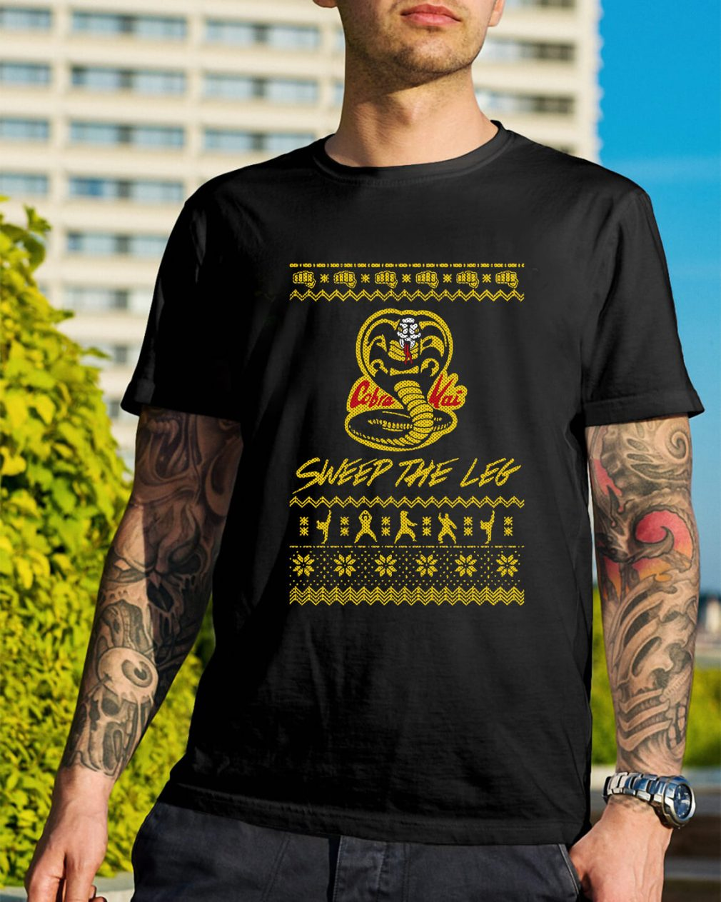 Christmas the Leg Karate Dojo Cobra Kai sweep the leg Guys Shirt