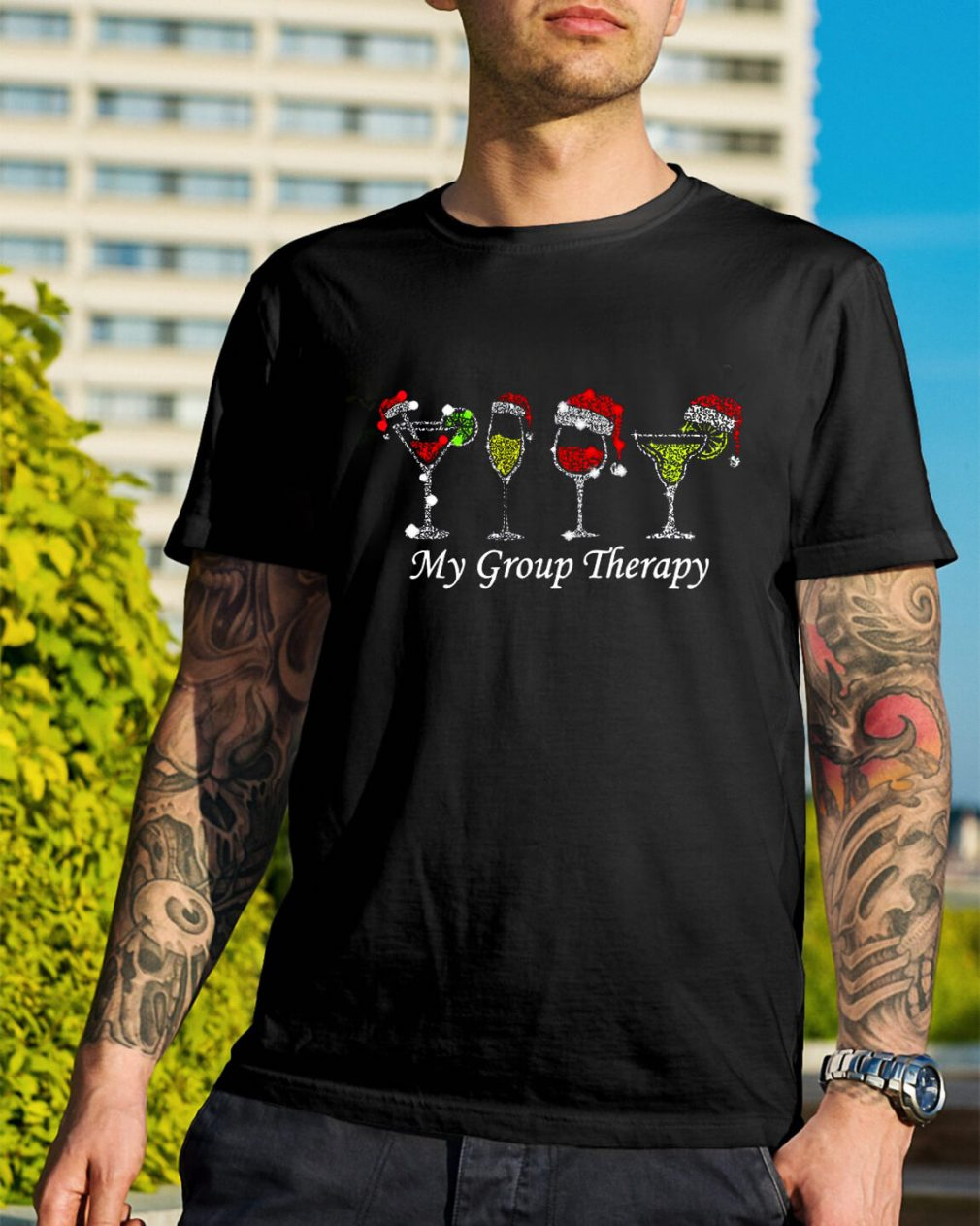 Christmas wine glass Santa hat my group therapy Guys Shirt