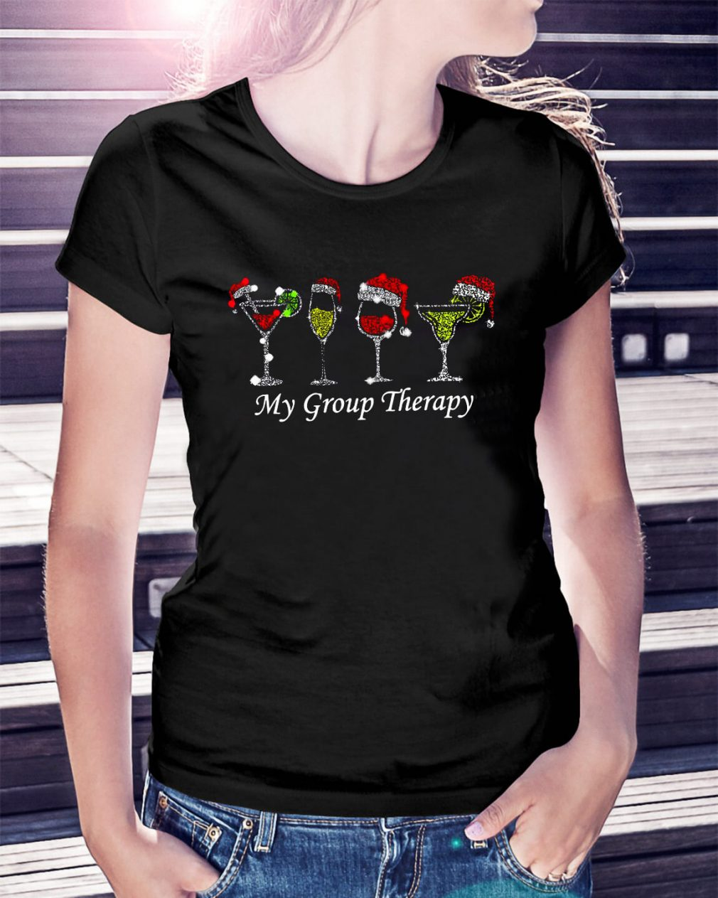 Christmas wine glass Santa hat my group therapy Ladies Tee
