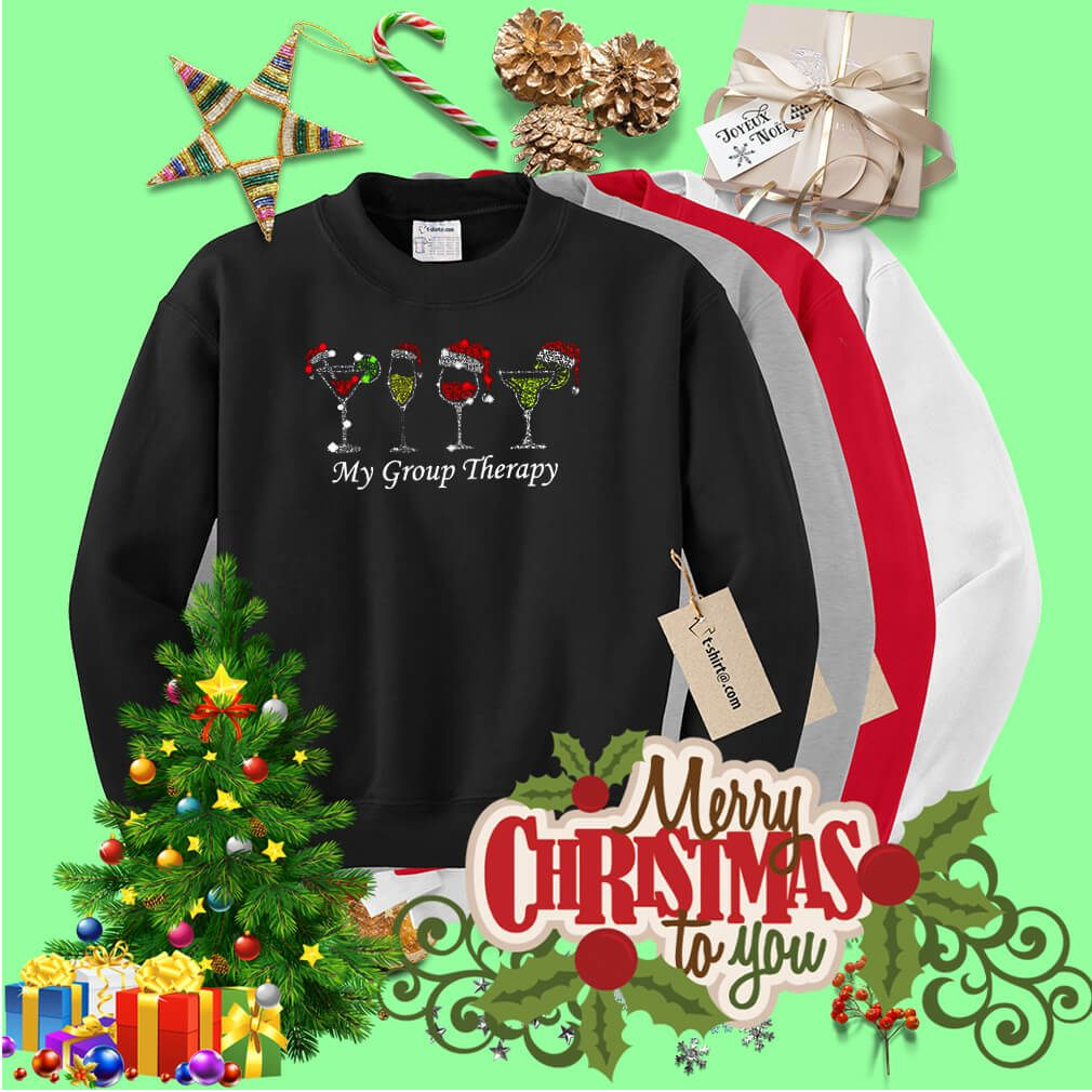 Christmas wine glass Santa hat my group therapy shirt, sweater