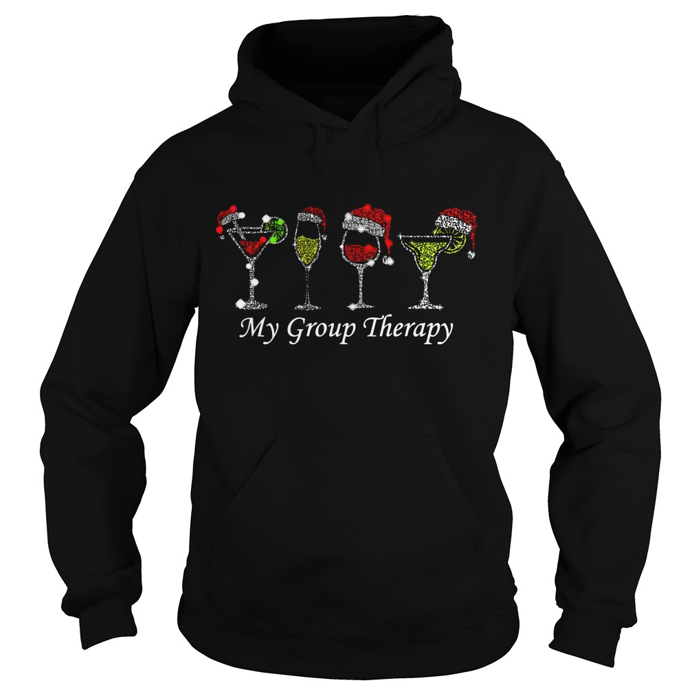 Christmas wine glass Santa hat my group therapy Hoodie