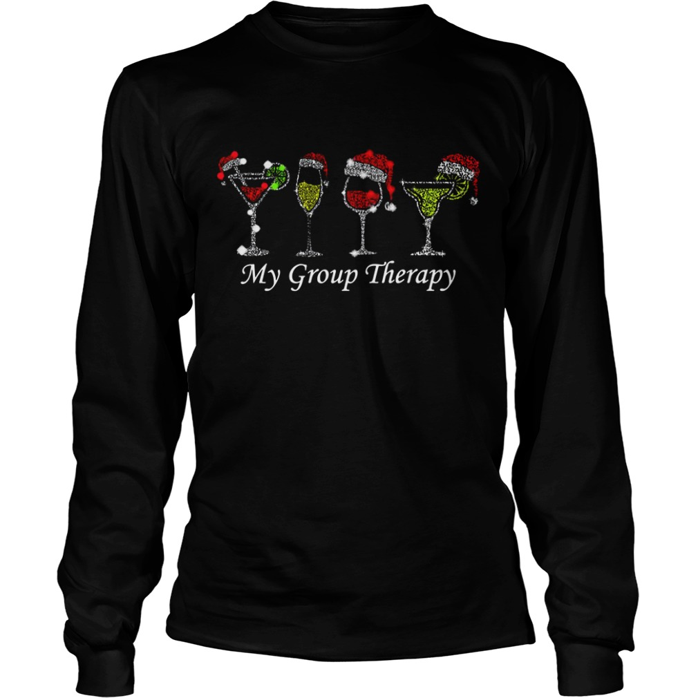 Christmas wine glass Santa hat my group therapy Longsleeve Tee