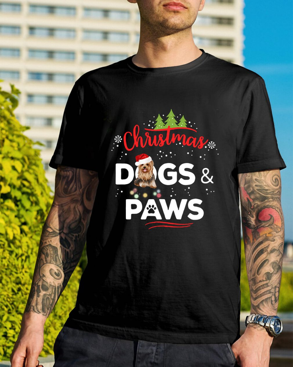 Christmas Yorkies dogs and paws Guys Shirt
