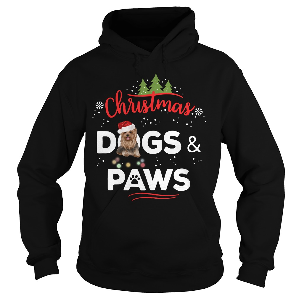 Christmas Yorkies dogs and paws Hoodie