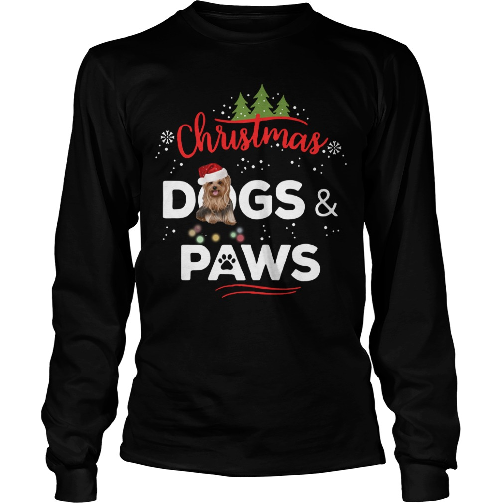 Christmas Yorkies dogs and paws Longsleeve Tee