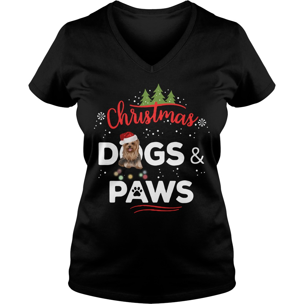 Christmas Yorkies dogs and paws V-neck T-shirt