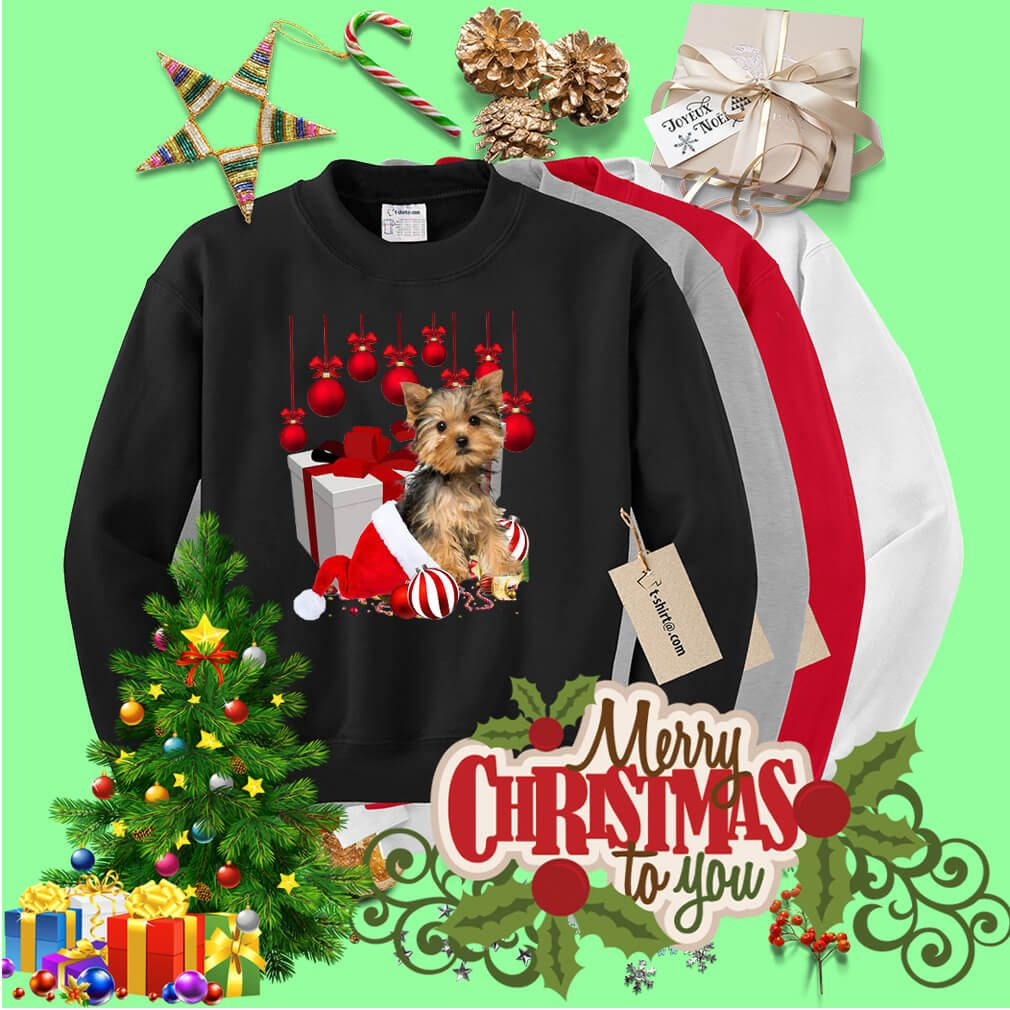 Christmas Yorkshire Santa hat and Ornament Bell shirt, sweater