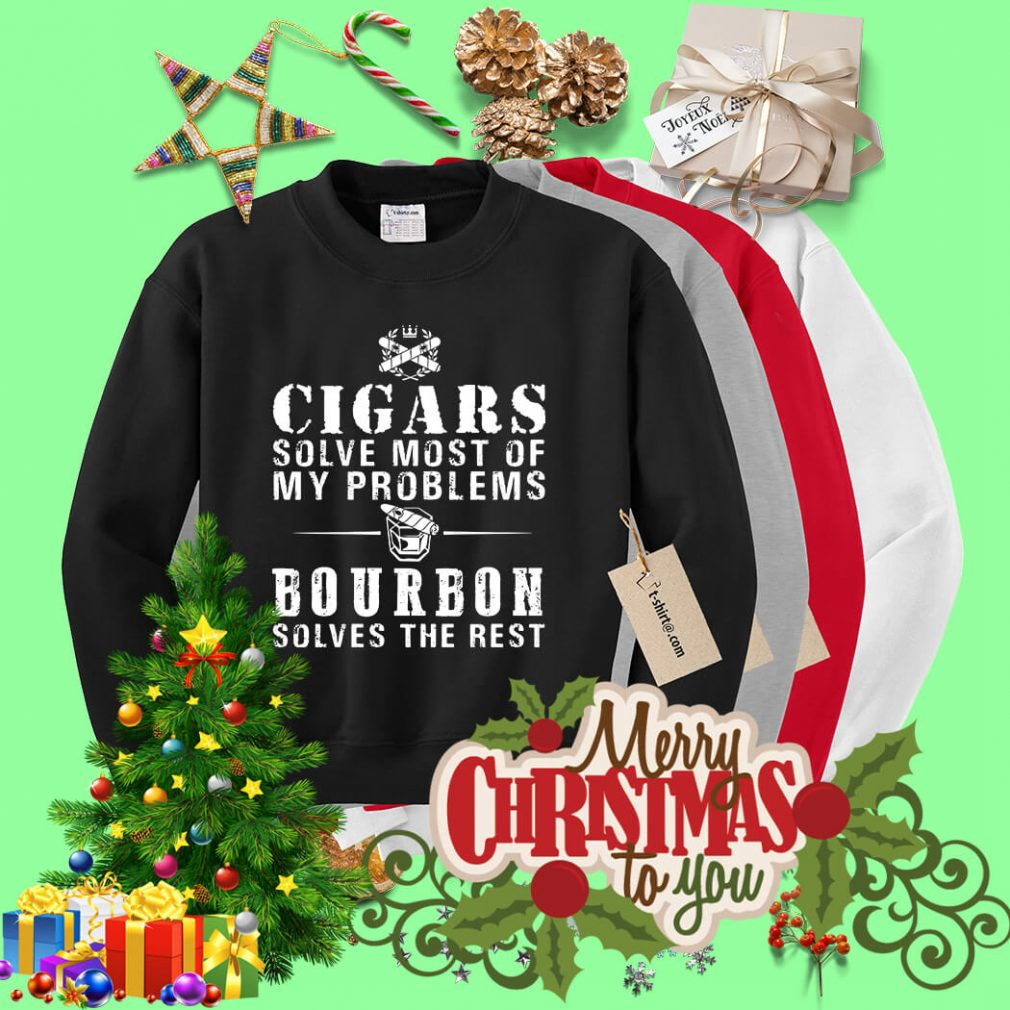 Cigars solve most of my problems bourbon solves the rest Sweater