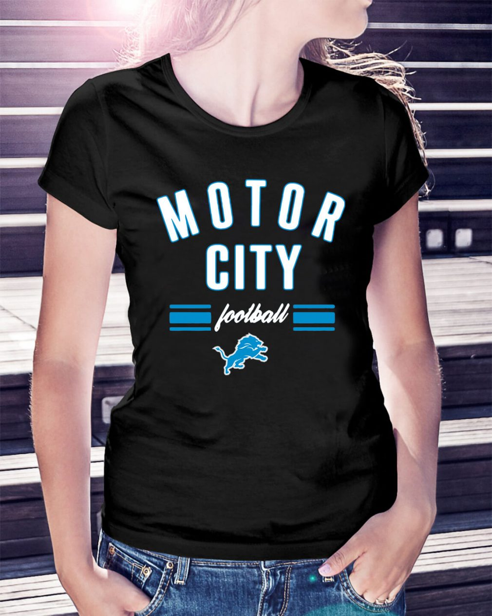 Detroit Lions motor city football Ladies Tee