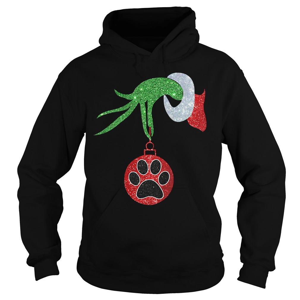 Dog Paw Christmas green hand Crew Neck Hoodie