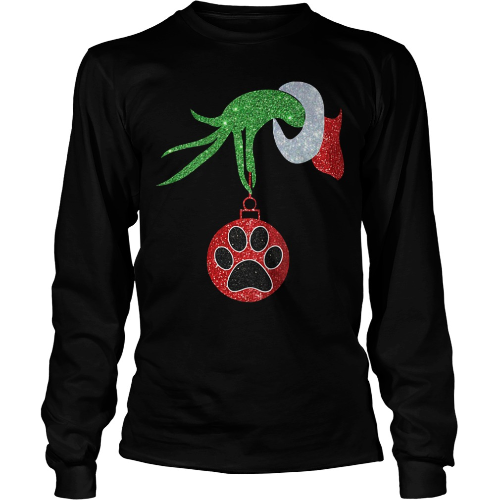 Dog Paw Christmas green hand Crew Neck Longsleeve Tee