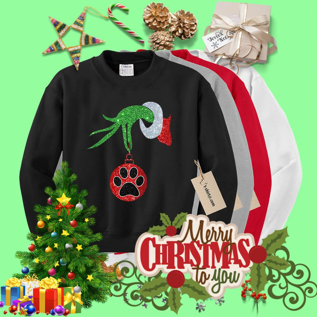 Dog Paw Christmas green hand Crew Neck shirt, sweater
