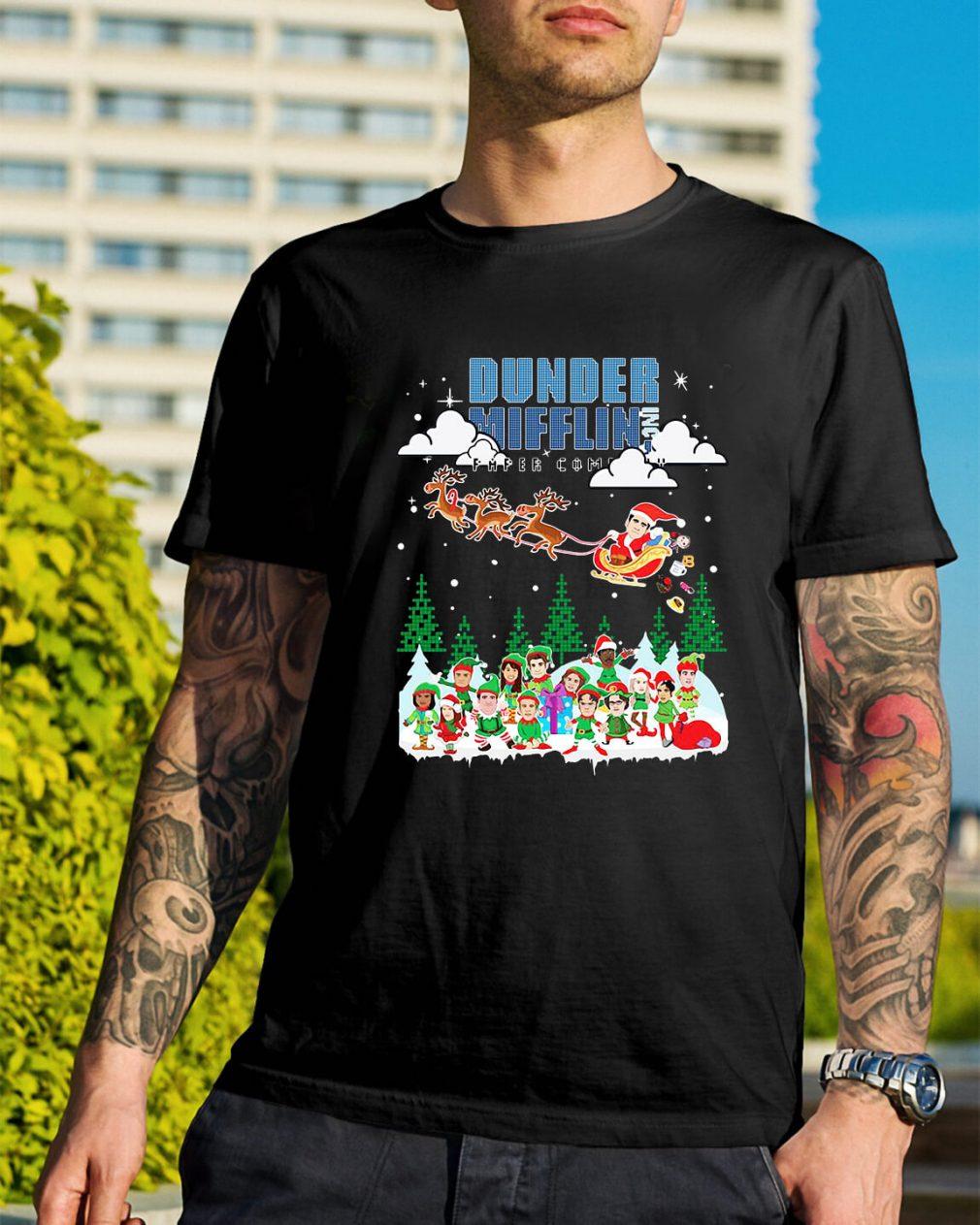 Dunder Mifflin Inc Paper Company Santa Christmas Guys Shirt