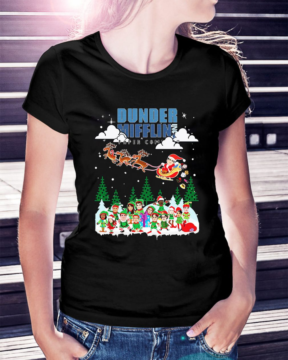 Dunder Mifflin Inc Paper Company Santa Christmas Ladies Tee