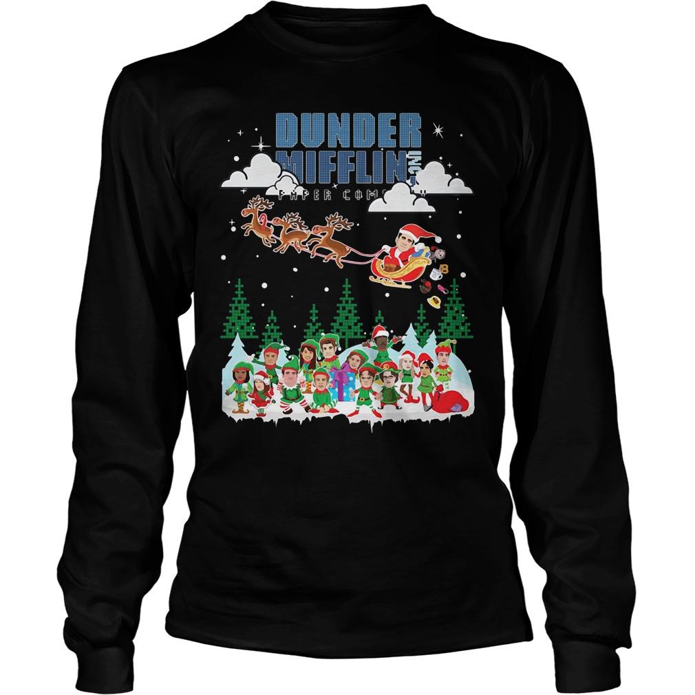 Dunder Mifflin Inc Paper Company Santa Christmas Longsleeve Tee
