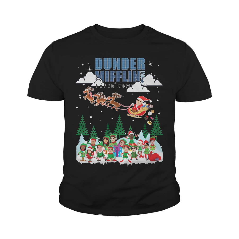 Dunder Mifflin Inc Paper Company Santa Christmas Youth Tee