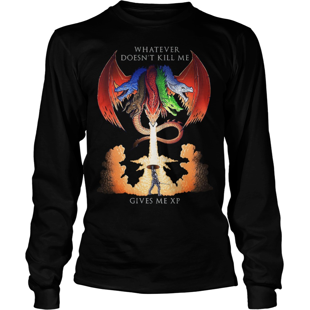Dungeons and Dragons Tiamat whatever doesn't kill me gives me XP Longsleeve Tee