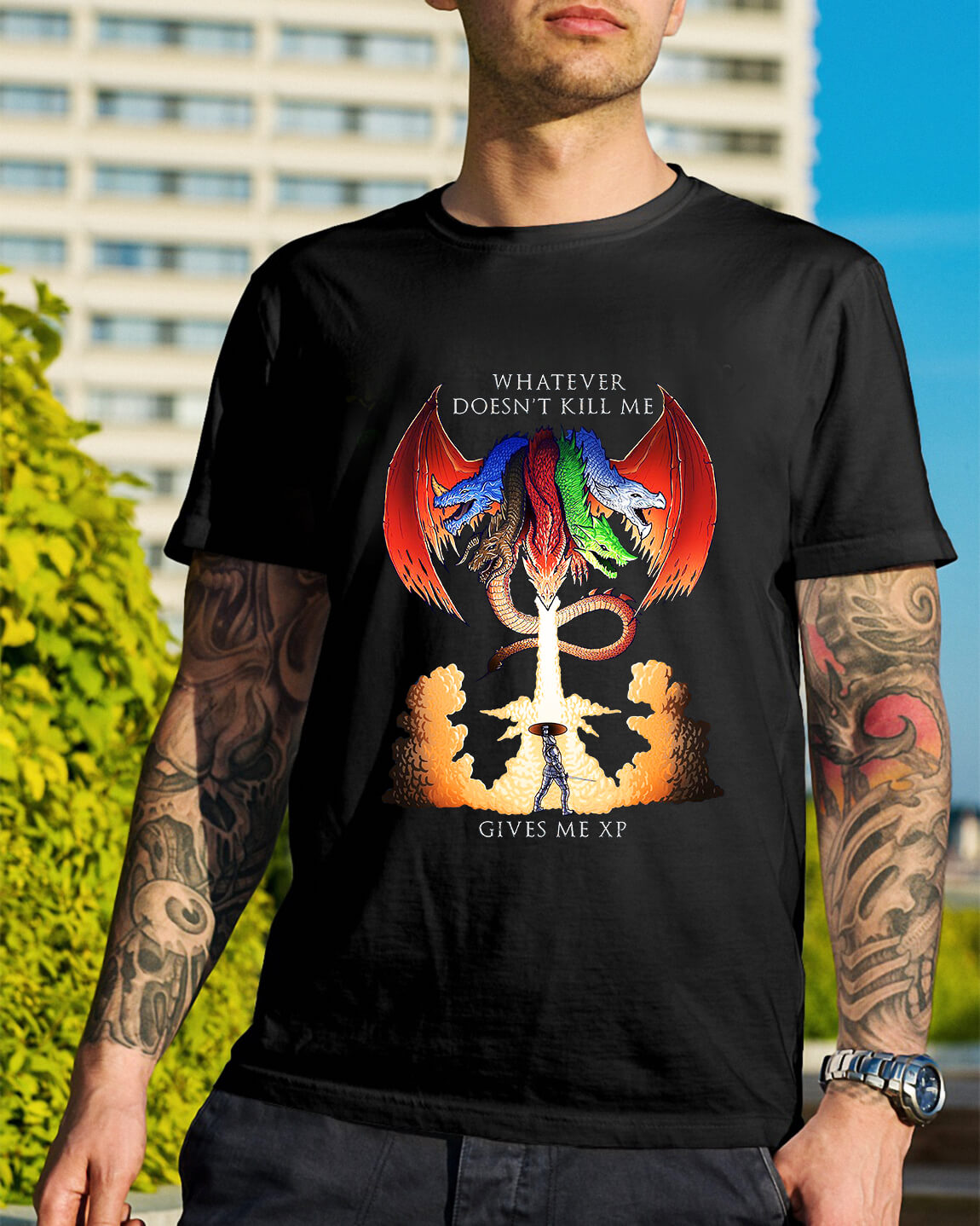 abd3df29 Dungeons and Dragons Tiamat whatever doesn't kill me gives me xp shirt