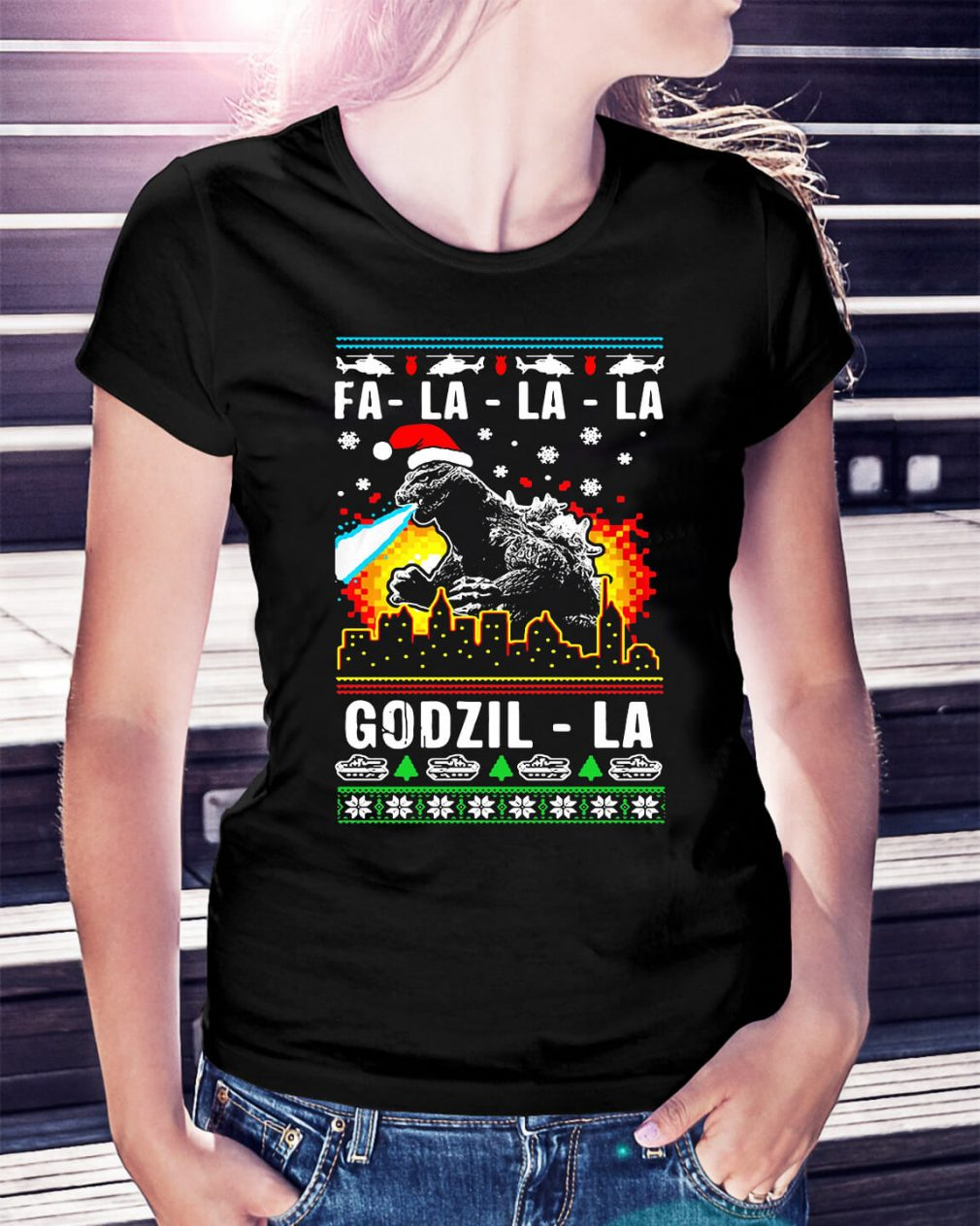 Fa-la-la-la Godzilla ugly Christmas Ladies Tee