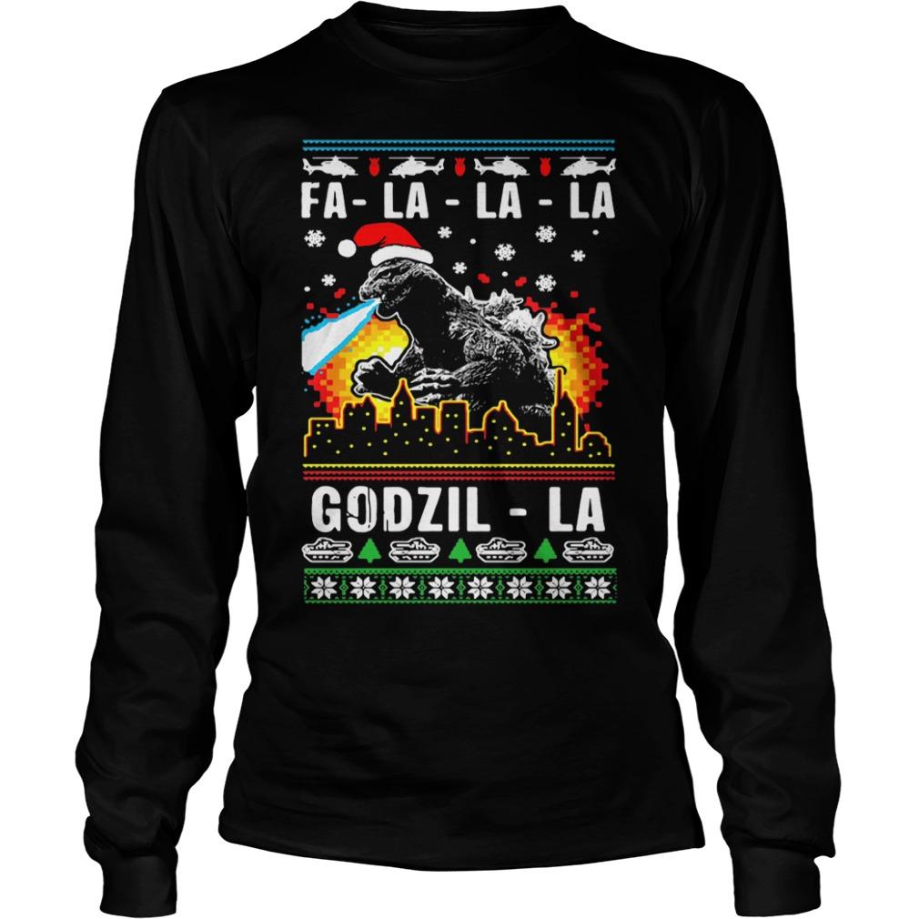 Fa-la-la-la Godzilla ugly Christmas Longsleeve Tee
