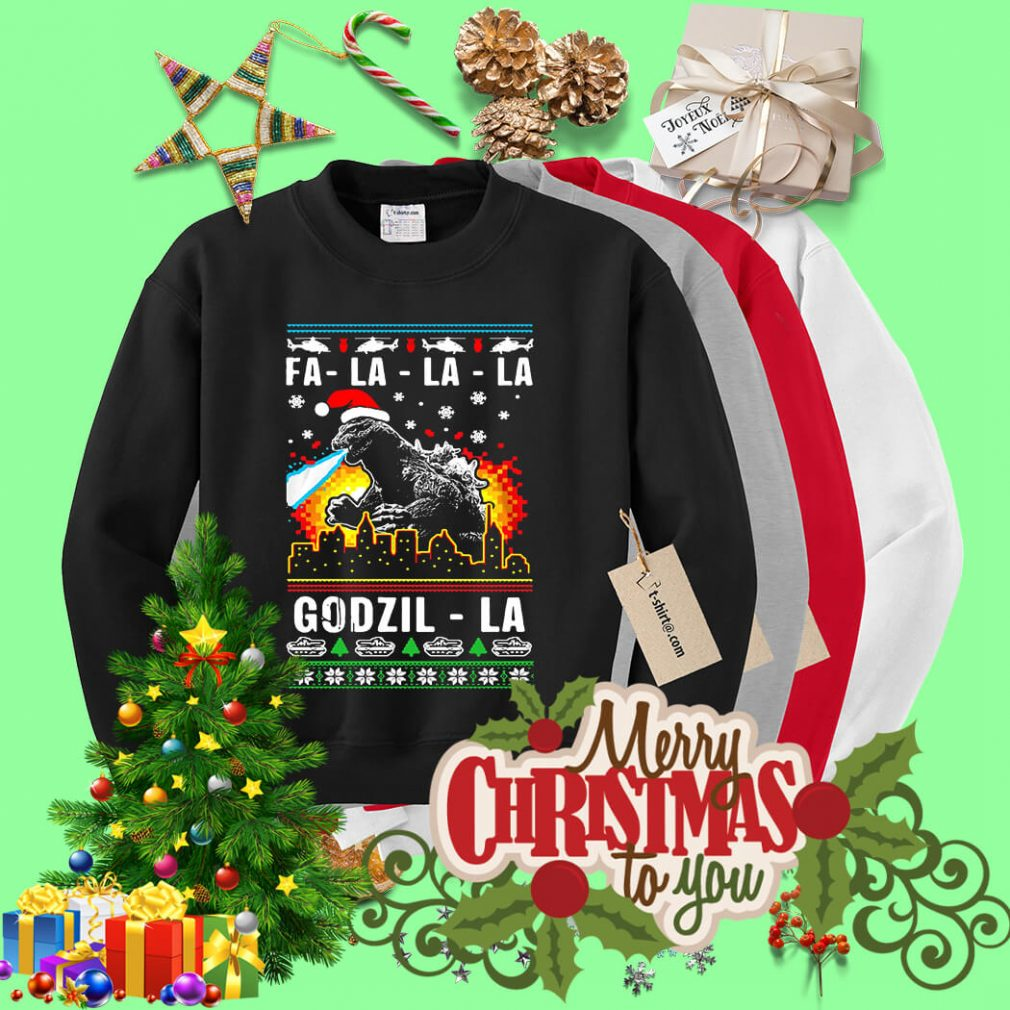Fa-la-la-la Godzilla ugly Christmas sweater