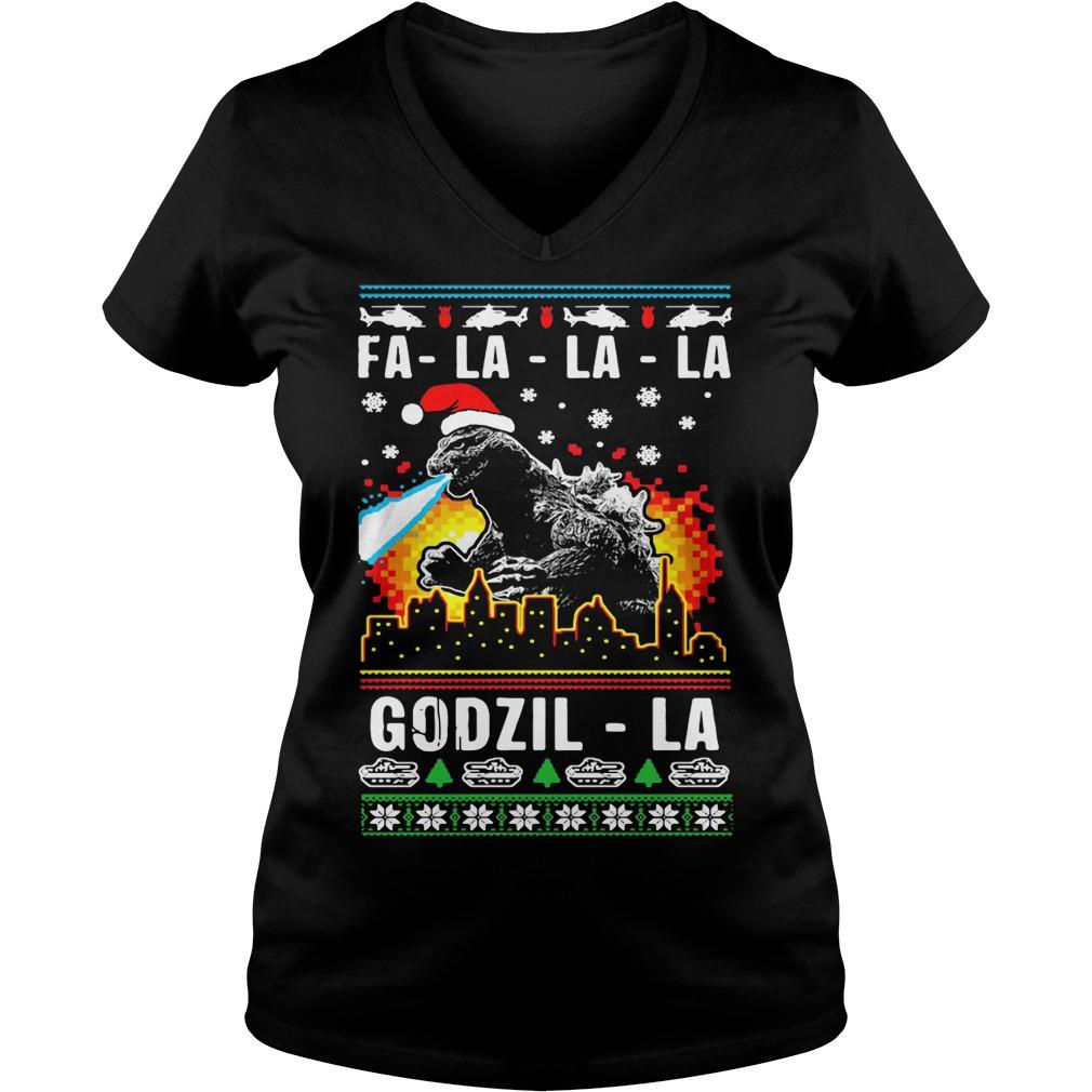 Fa-la-la-la Godzilla ugly Christmas V-neck T-shirt
