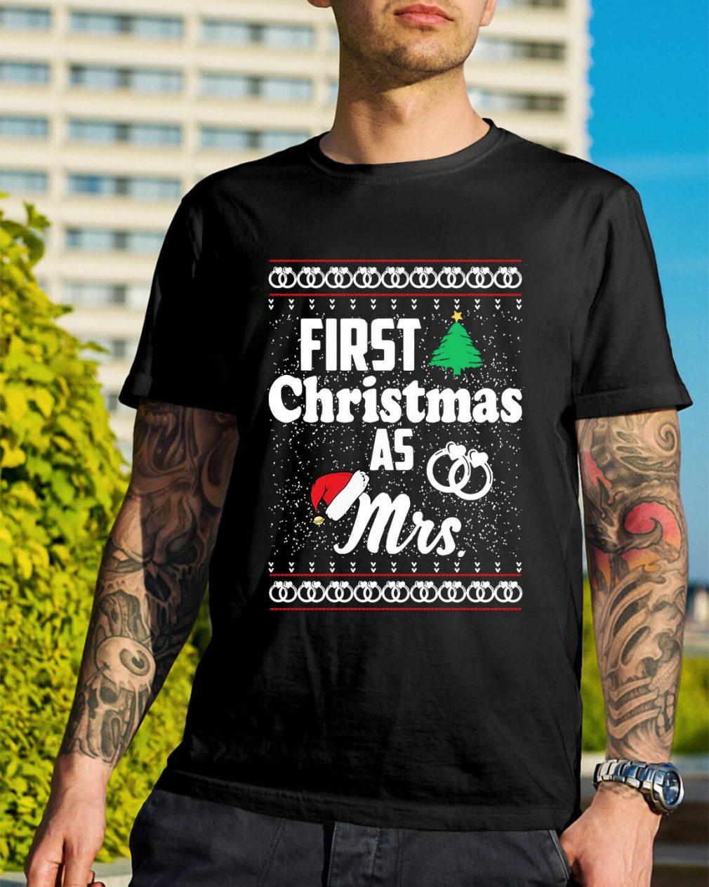First Christmas as Mrs wedding ring Guys Shirt