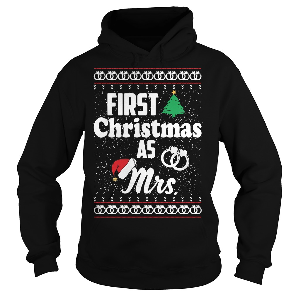 First Christmas as Mrs wedding ring Hoodie