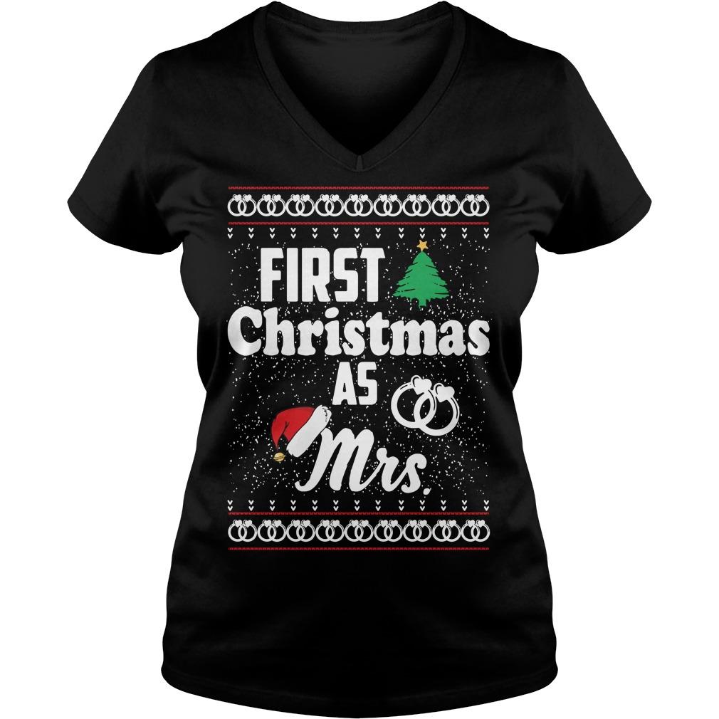 First Christmas as Mrs wedding ring V-neck T-shirt
