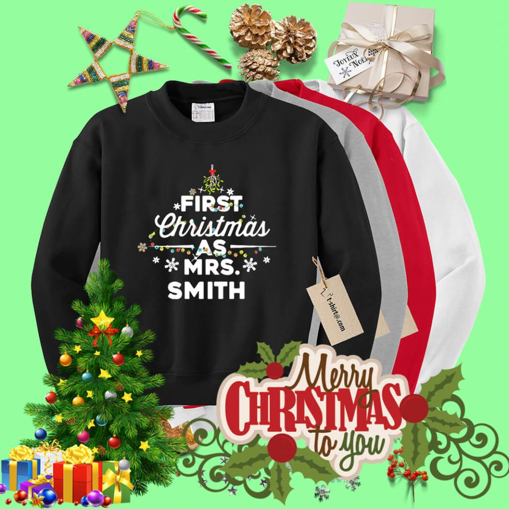 First Christmas light as Mrs Smith shirt, sweater
