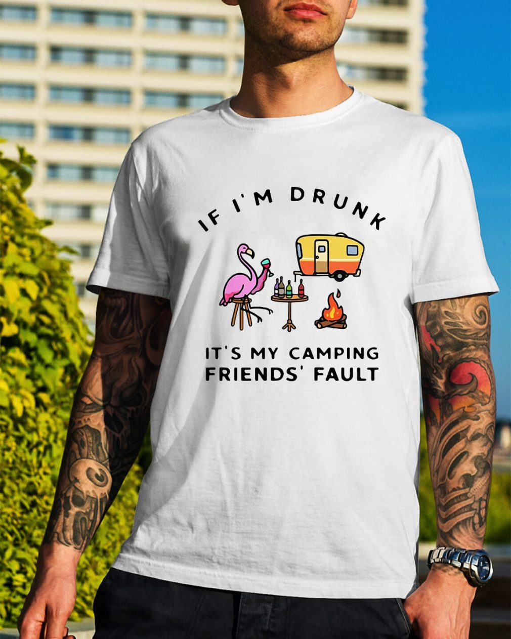 Flamingo if I'm drunk it's my friend's fault Guys Shirt