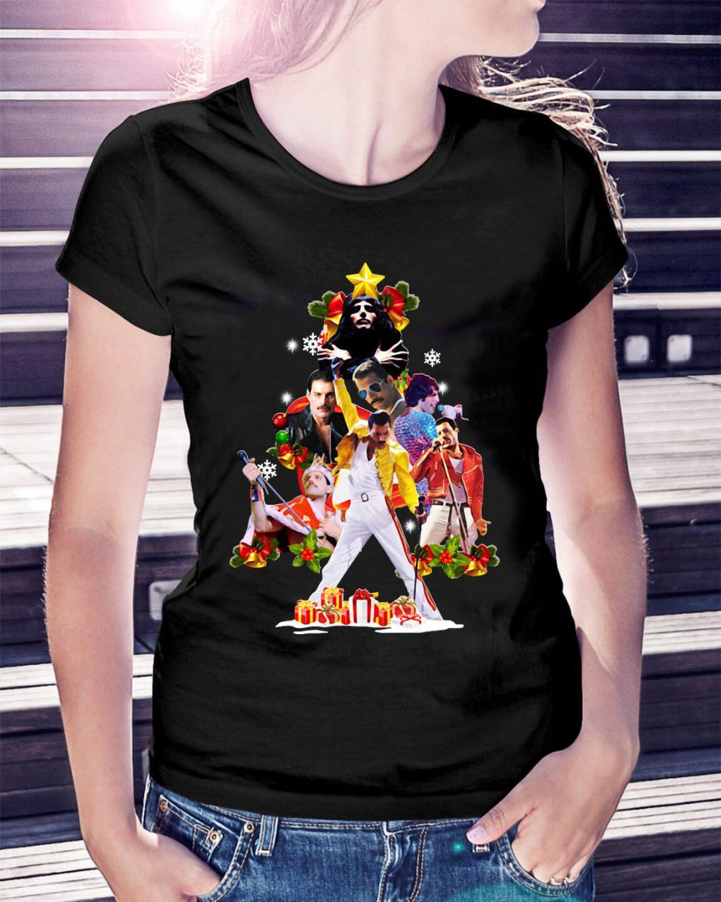 Freddie Mercury Christmas tree Ladies Tee