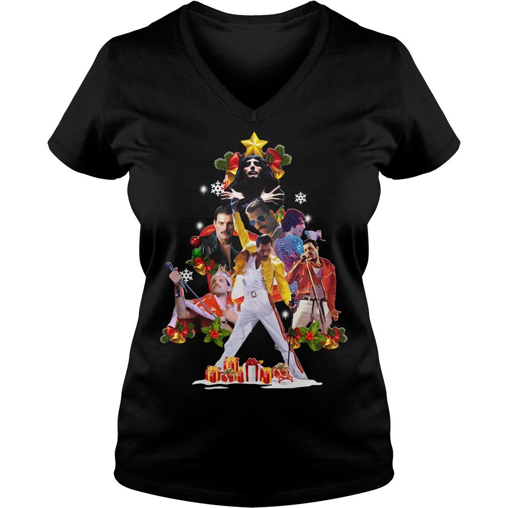 Freddie Mercury Christmas tree V-neck T-shirt