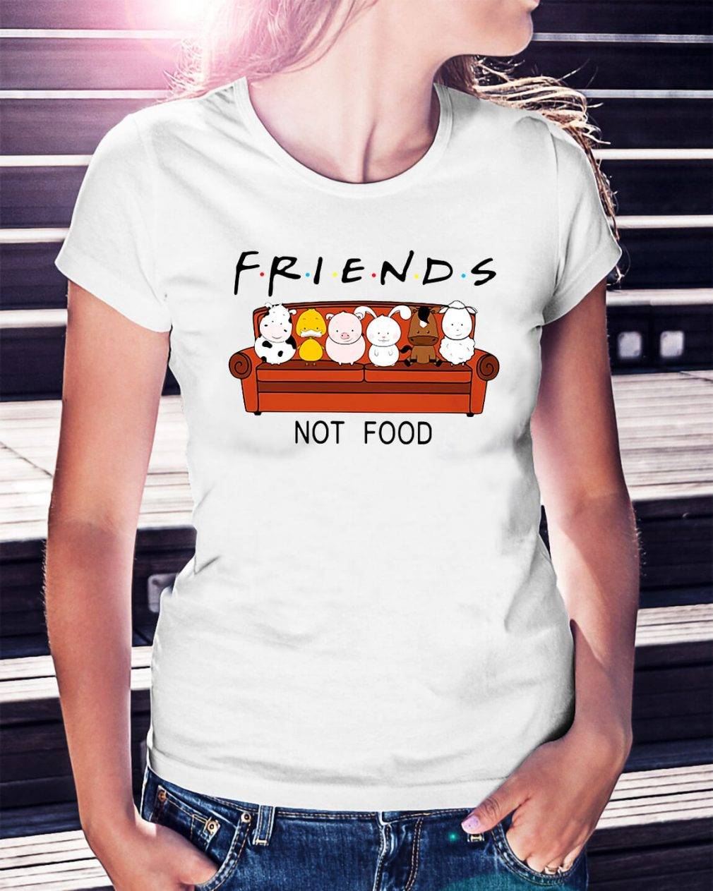 Friends TV show animal are friends not food Ladies Tee