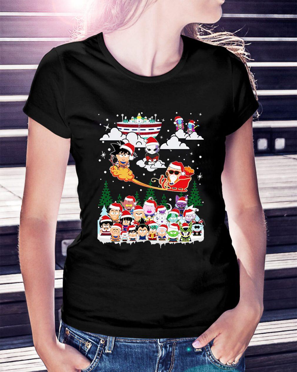 Goku vs Jiren Dragon ball superhero Santa Christmas Ladies Tee