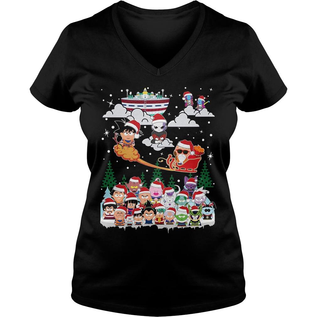 Goku vs Jiren Dragon ball superhero Santa Christmas V-neck T-shirt