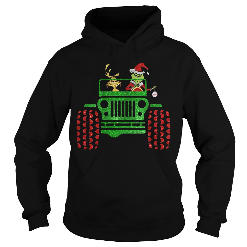 Grinch and Max Dog driving jeep Hoodie