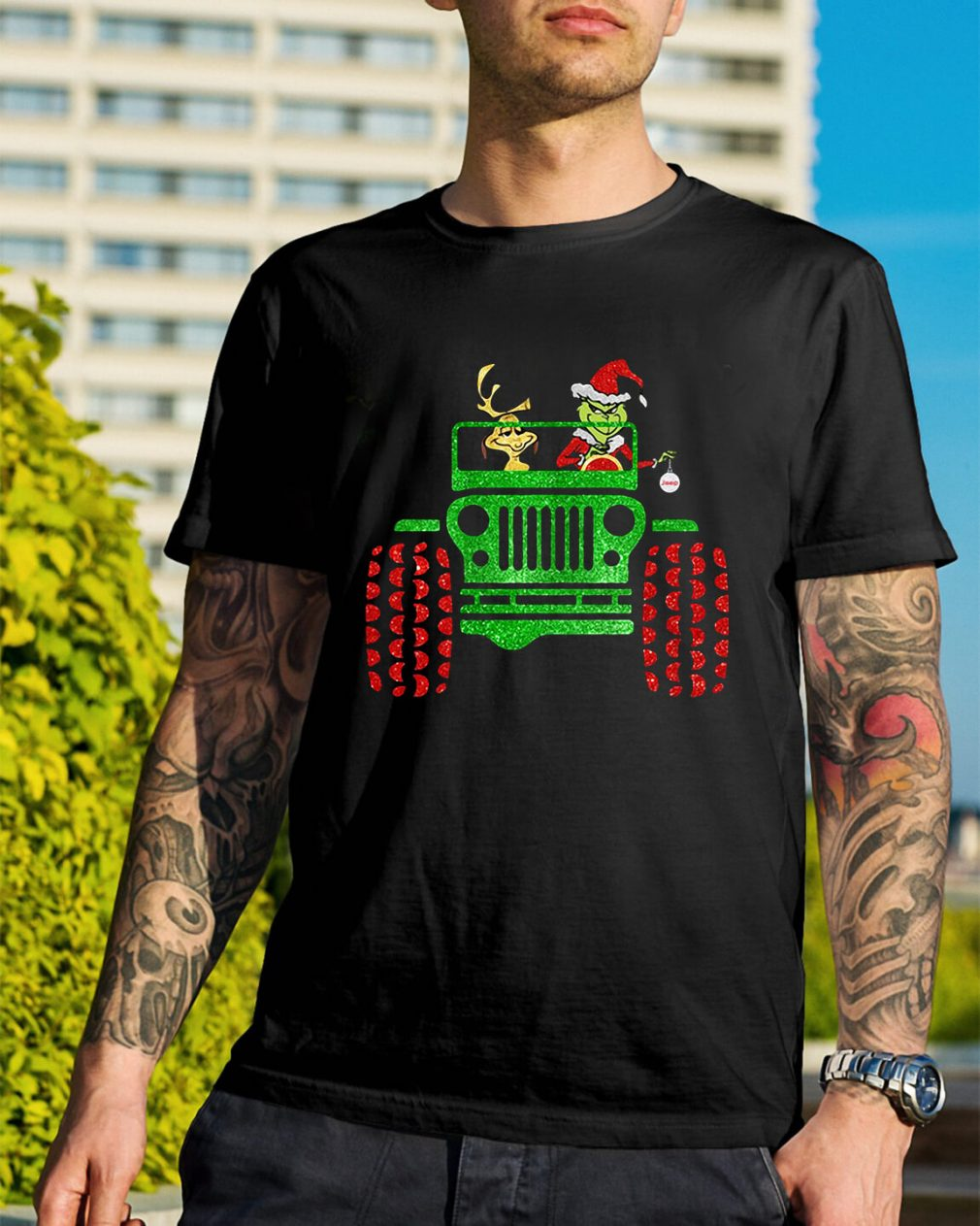 Grinch and Max Dog driving jeep Guys Shirt
