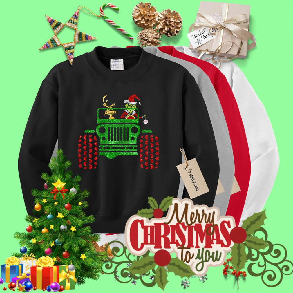 Grinch and Max Dog driving jeep shirt, sweater