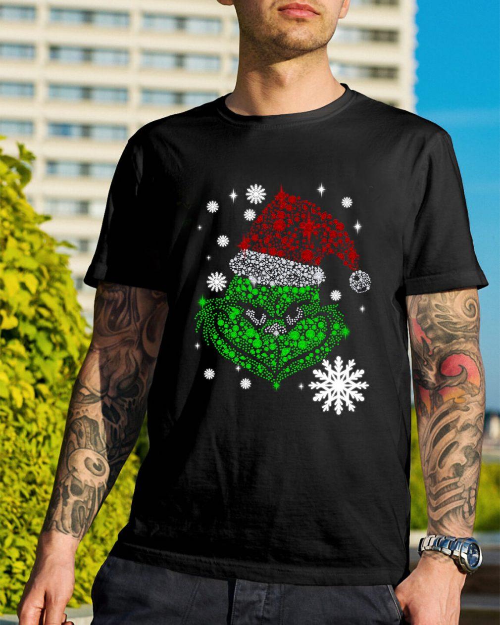 Grinch face rhinestone Diamond Christmas Guys Shirt